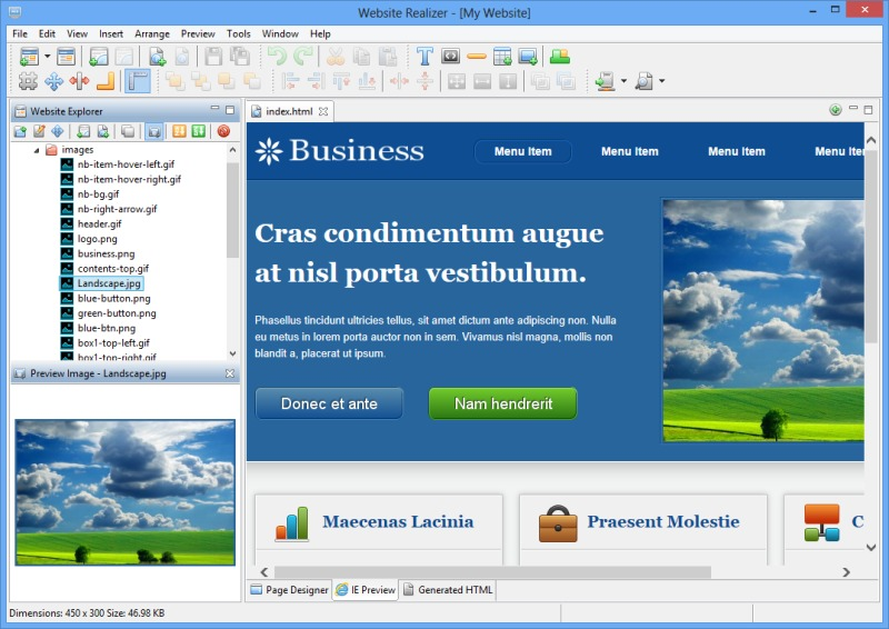 Click to view Website Realizer 1.7.17 screenshot